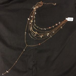 Free People Layered Stone Gold Necklace choker